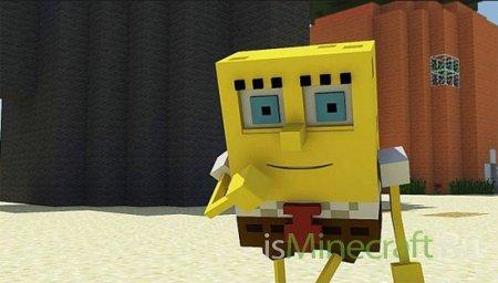Spongebob попадает в Minecraft - анимация