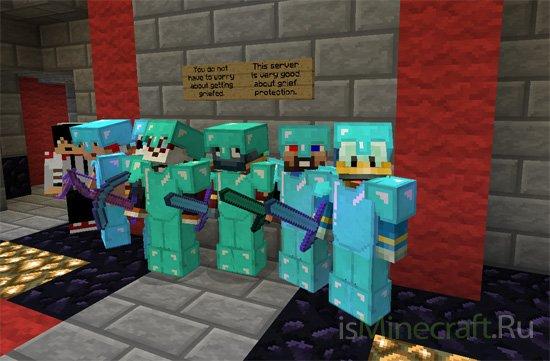 Бои и охота группой в Minecraft